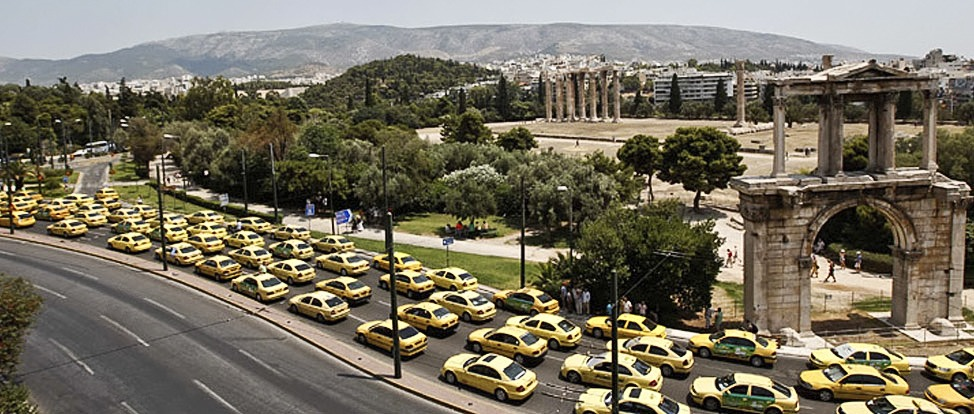 Striking Cabs in Greece