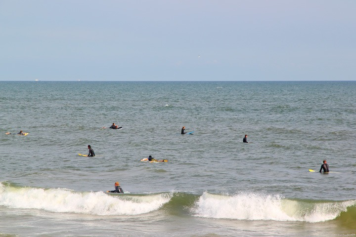 Surfers at Rockaway Beach