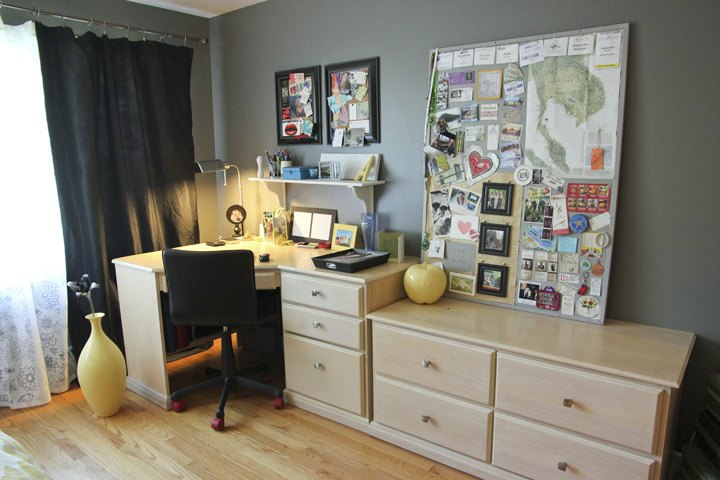Yellow Gray Bedroom Makeover