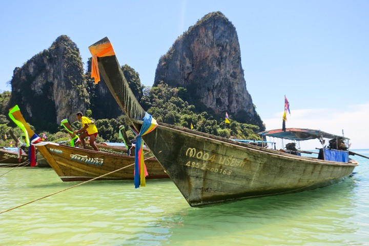 Longtail Boats in Tonsai Bay, Thailand