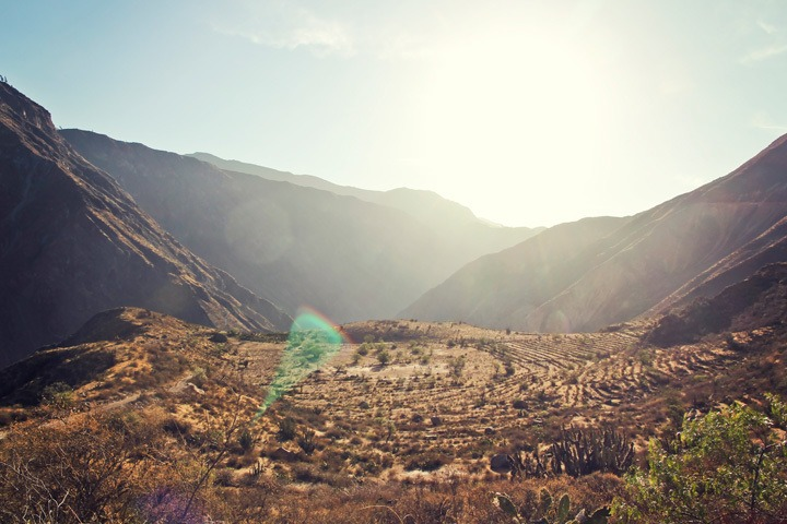 Hiking into the Colca Canyon, Peru