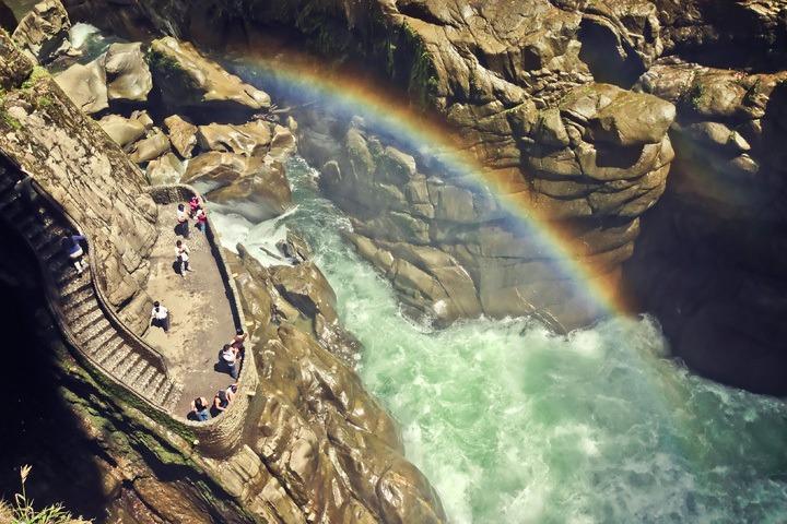 Rainbow over a Waterfall in Banos, Ecuador