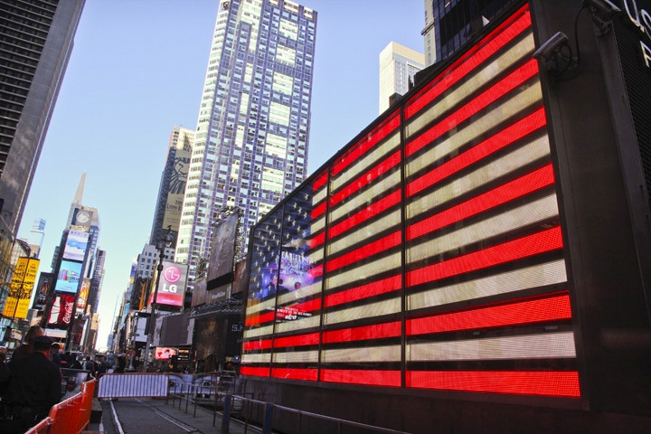 American Flag in Times Square