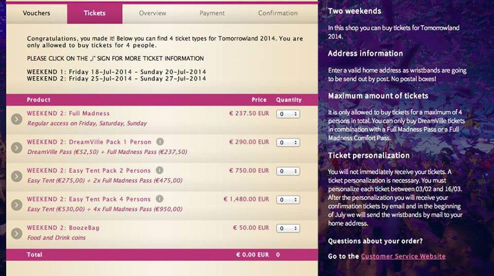 Tomorrowland Ticket Orders