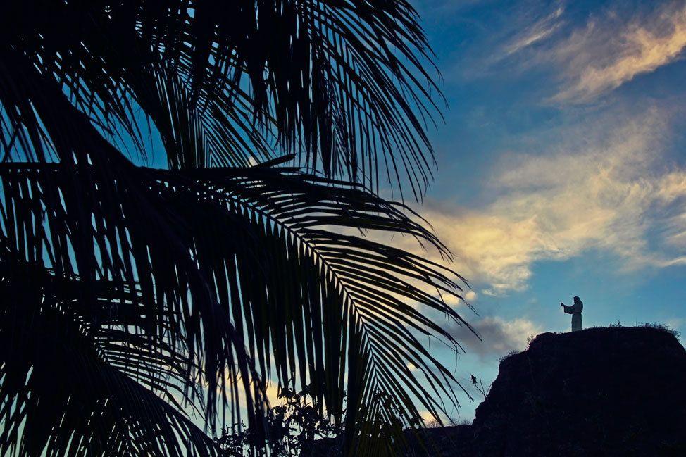 San Juan del Sur Jesus Statue at Sunset