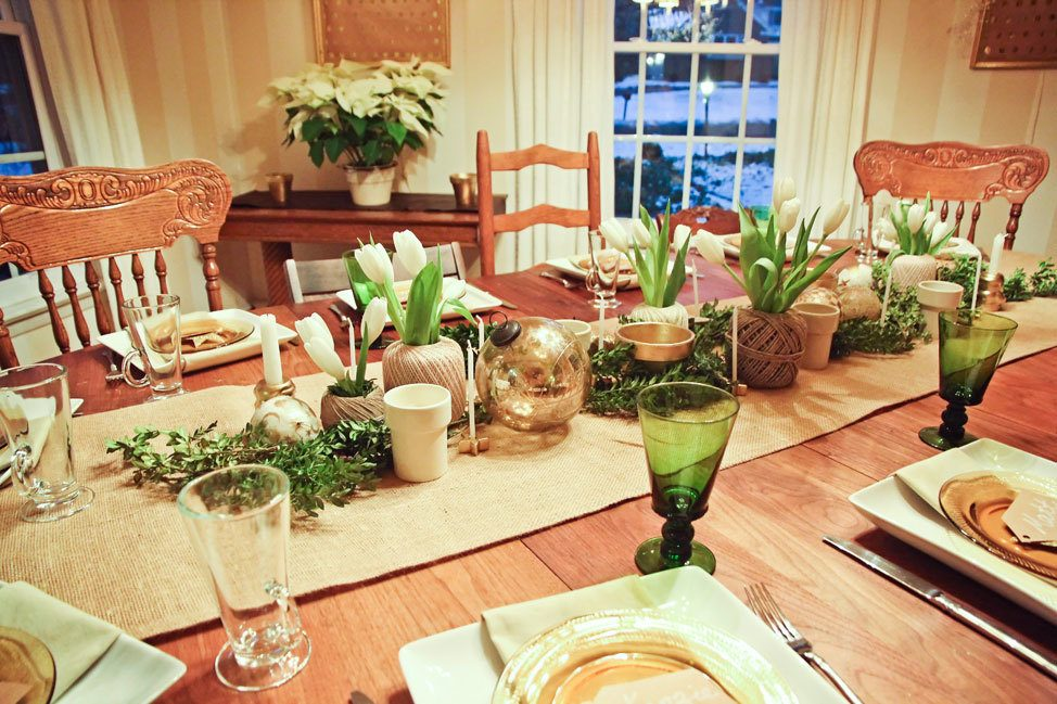 Green and Gold Christmas Dinner Party
