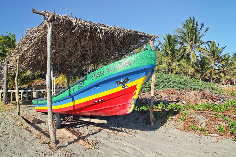 Boats along El Cuco Beach El Salvador