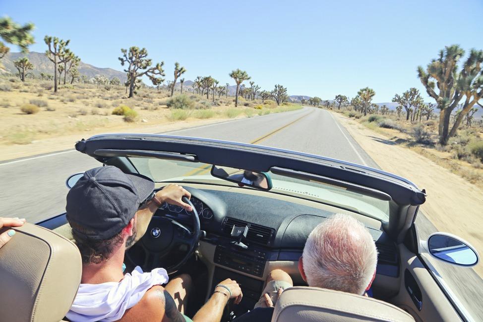 Driving Through Joshua Tree in a Convertible