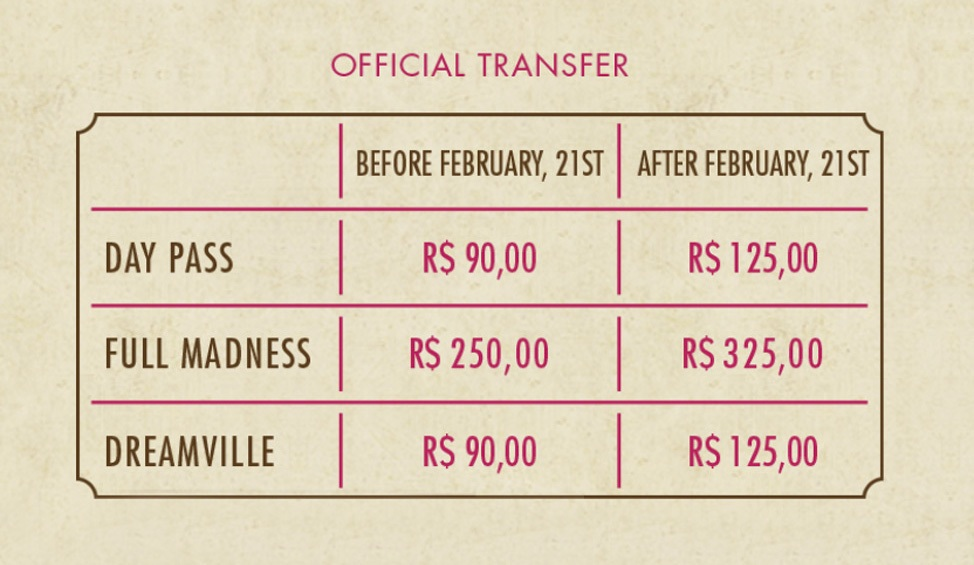 Tomorrowland Brasil Transfer Information