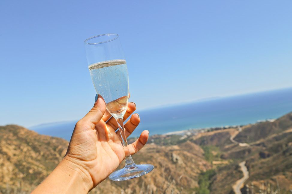 Champagne Helicopter Landing in Malibu