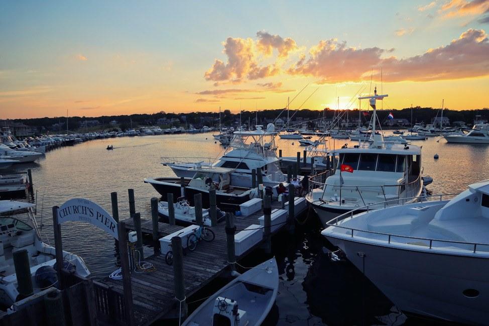 Sunset over Oak Bluffs Harbor Martha's Vineyard