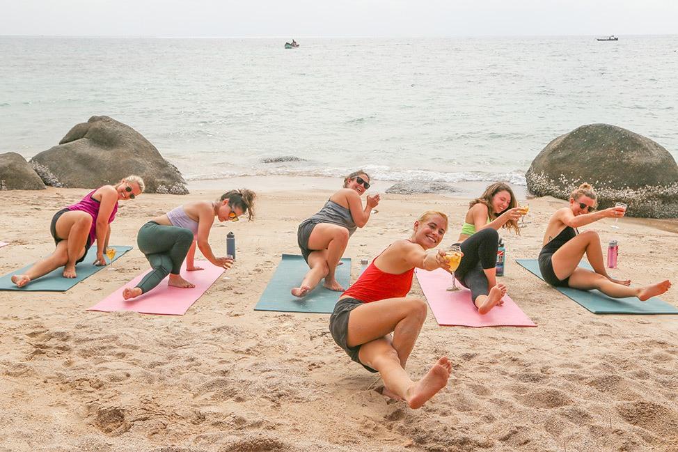 Sip N Stretch Sangria Yoga at Wander Women Dive and Yoga Retreats, Koh Tao, Thailand