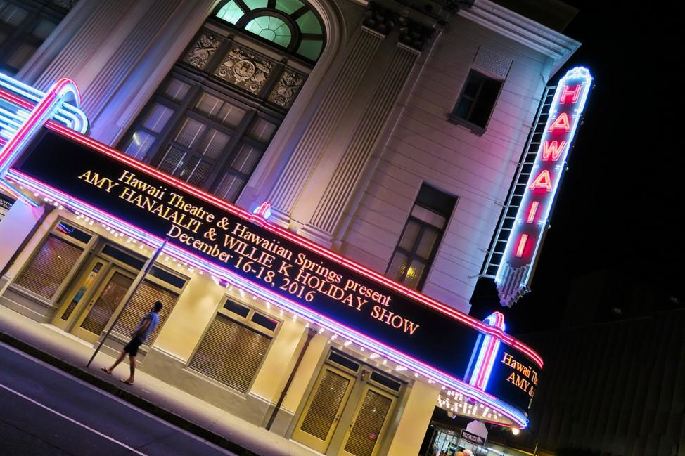 Hawaii Theater, Oahu at Night