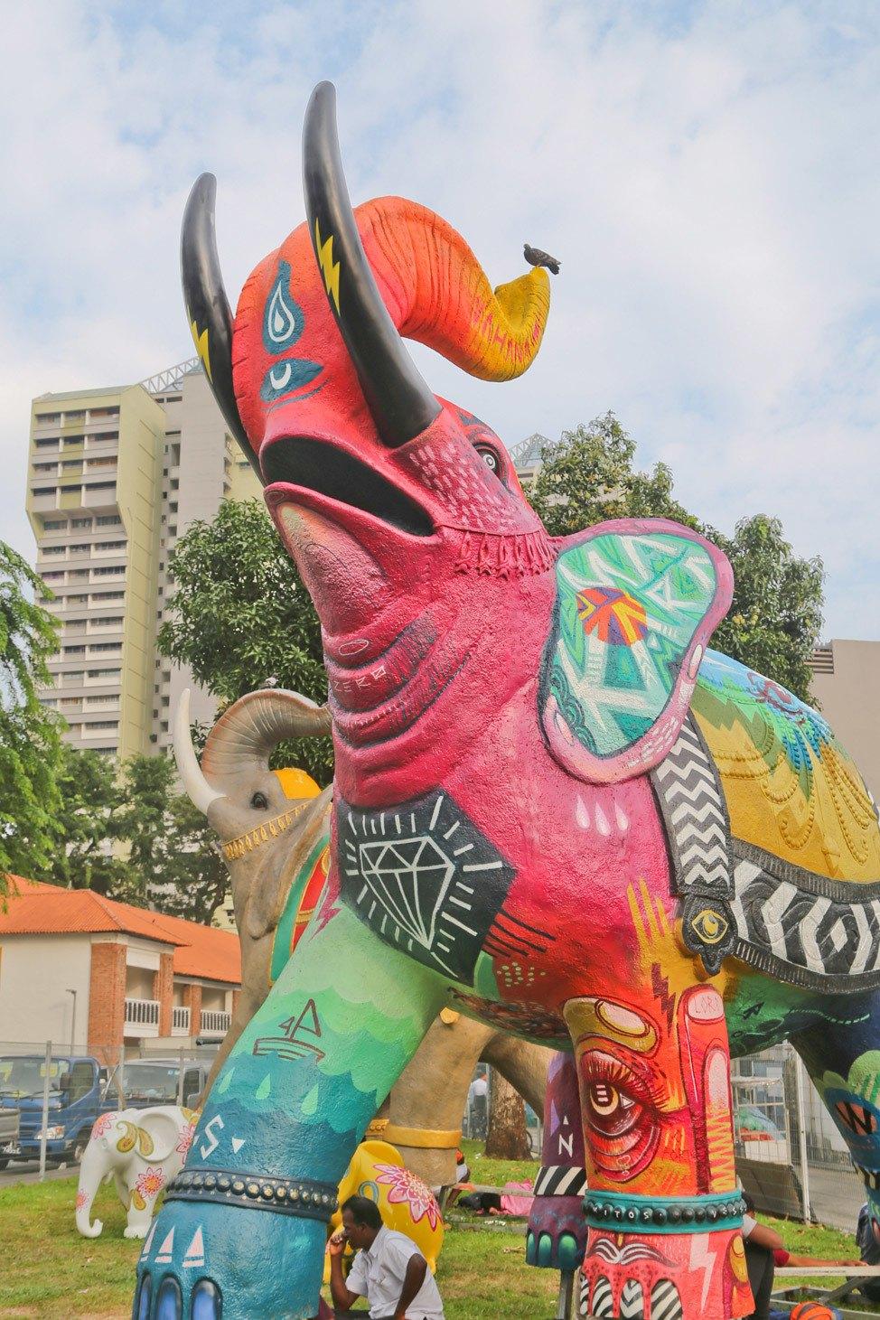 Elephant Sculpture in Little India, Singapore