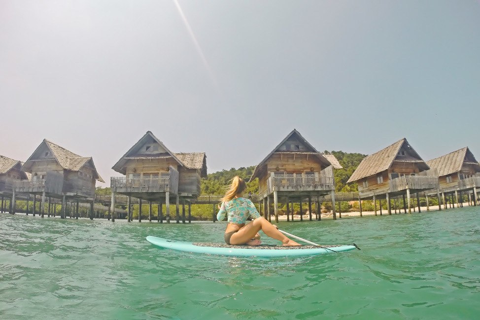 Stand Up Paddleboarding at Telunas Private Island