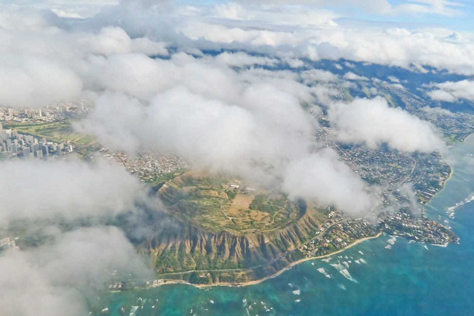 View of Oahu from plane window