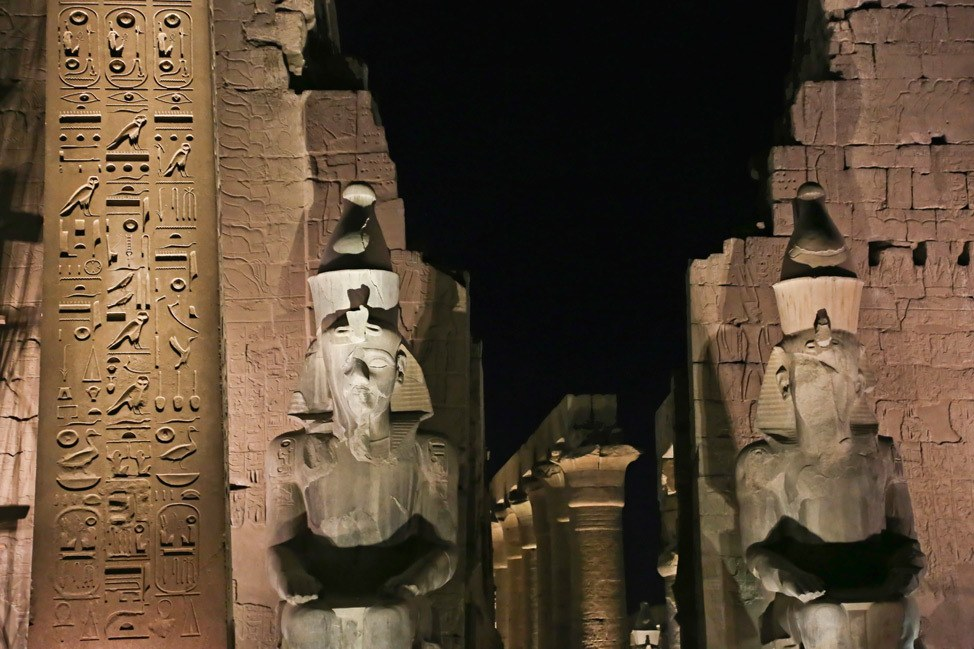 Visiting the Temple of Luxor at Night