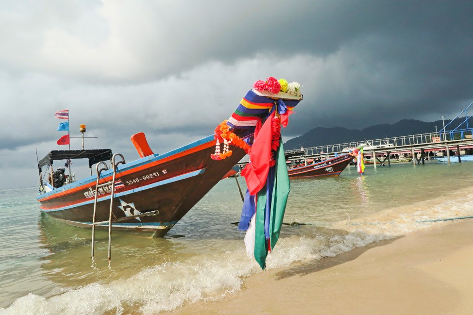 Longtail boat in a storm on Koh Tao