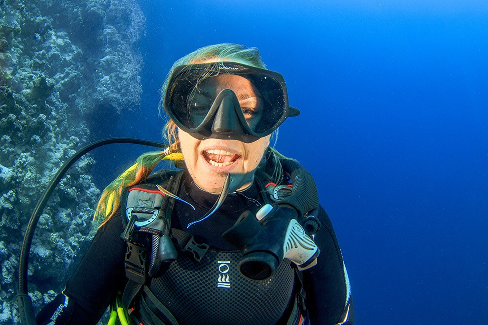 Getting teeth cleaned by cleaner wrasse while diving in Dahab, Egypt