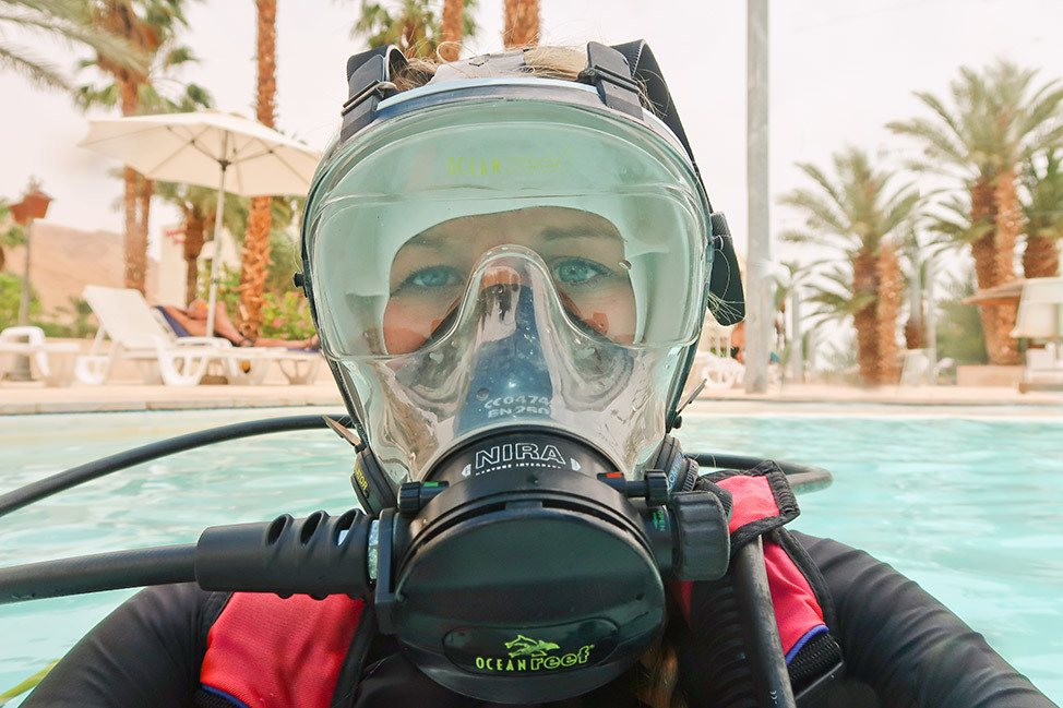 Full Face Mask Diving at the Dead Sea in Israel