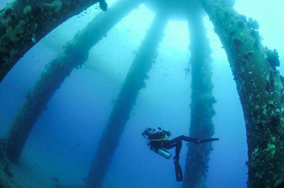 Diving in Katza Pier, Red Sea, Israel