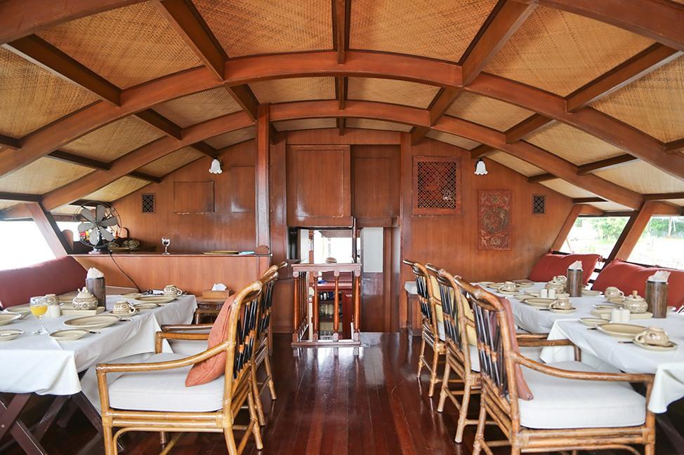 Dining room on the Mekhala River Cruise from Bangkok to Ayutthaya, Thailand