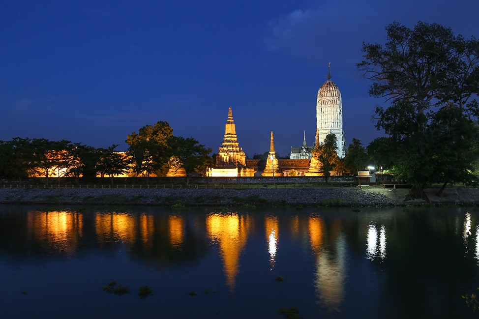 Ayutthaya temples lit up at night