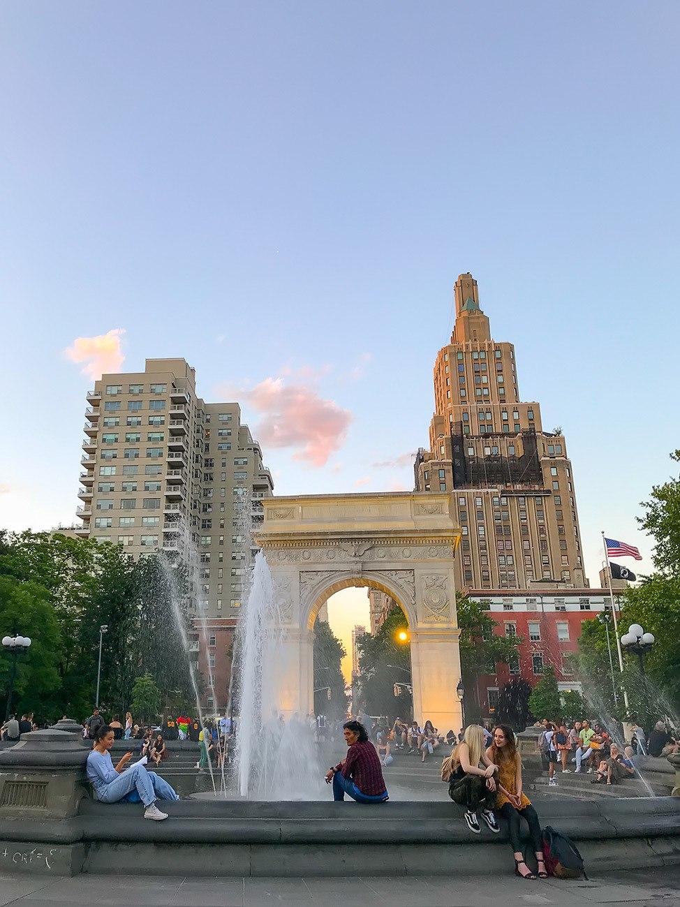 Sunset in Washington Square Park