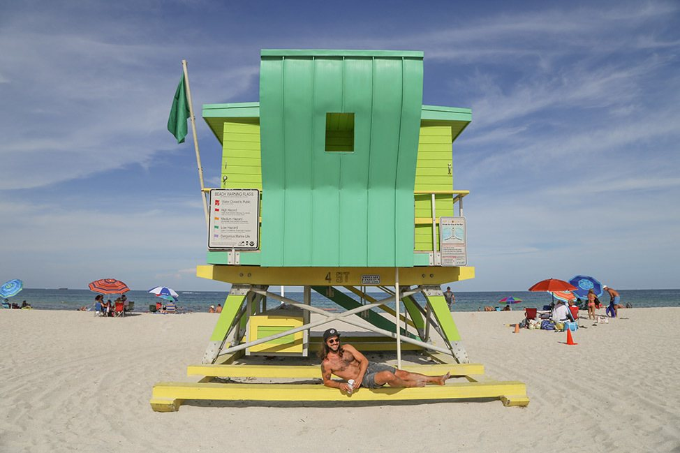 Art deco Miami Beach lifeguard stands