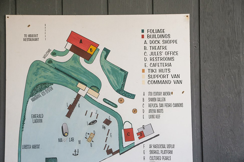 Scuba Diving Map at the Key Largo Undersea Park's Emerald Lagoon