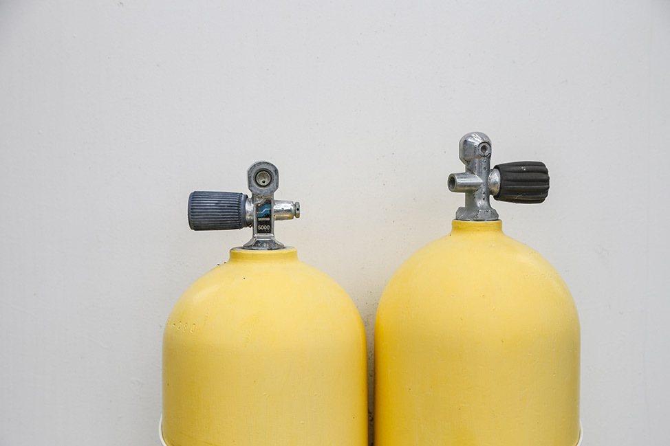Yellow scuba tanks at Jules Undersea Lodge in Key Largo, Florida