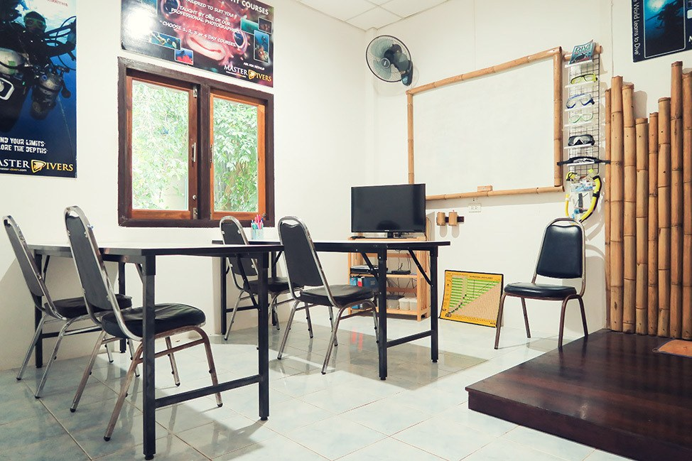 Inside the classroom at Master Divers in Koh Tao, Thailand