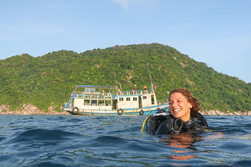 Female instructors at Wander Women Dive and Yoga Retreats, Koh Tao, Thailand