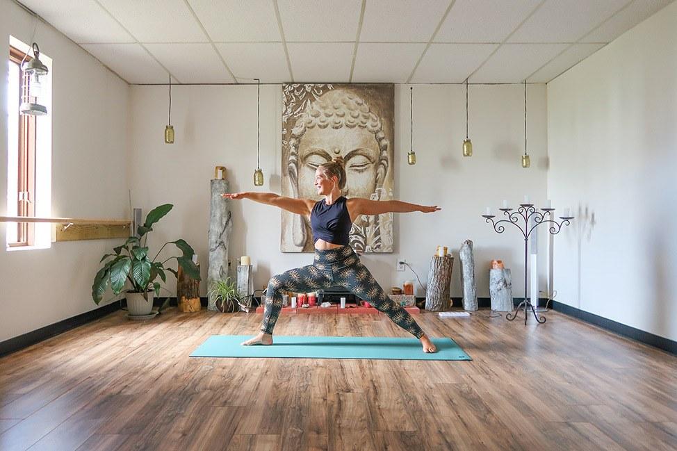 Teaching yoga at Good Karma Studio in Albany NY