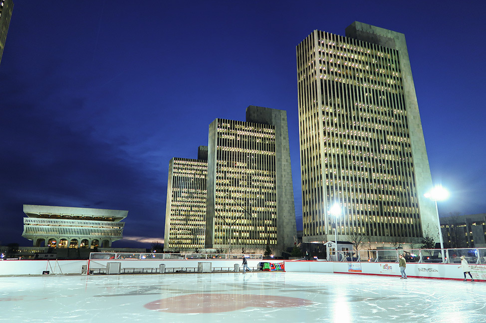 Ice Skating at the Empire State Plaza in Albany, New York