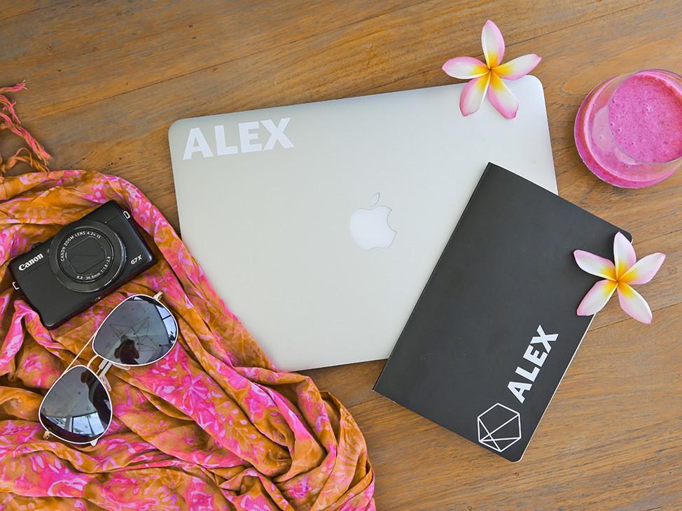 Wander Women Virtual Retreat laptop and tropical flowers