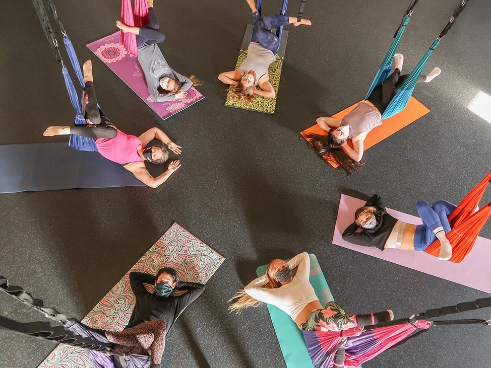 Wander Women Virtual Retreat doing silks yoga