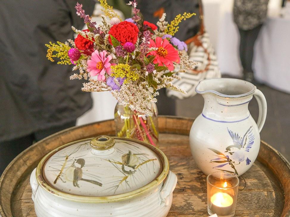 Wander Women Hudson Valley: beautiful floral tablescape on wine barrel