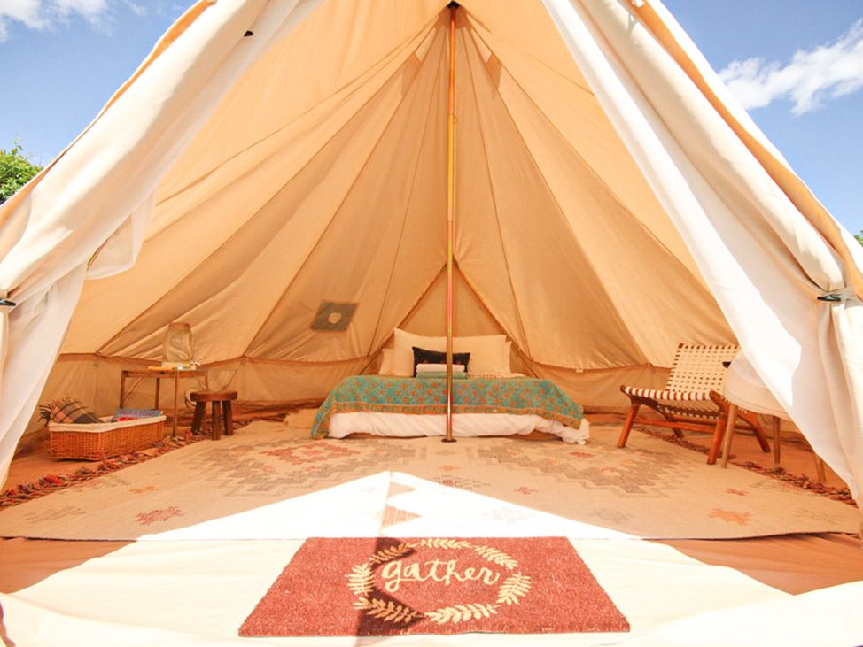 Wander Women Hudson Valley: beautiful canvas bell tent luxury glamping